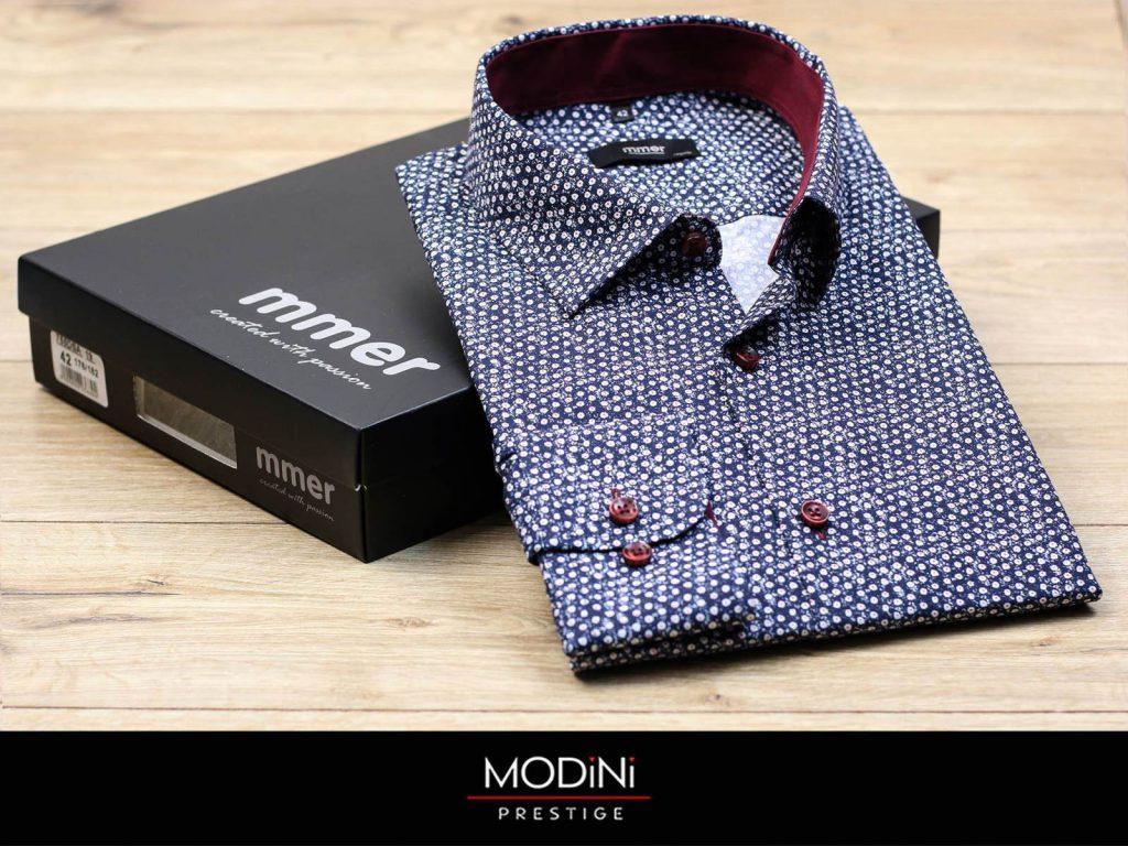 Granatowa koszula męska ze wzorem